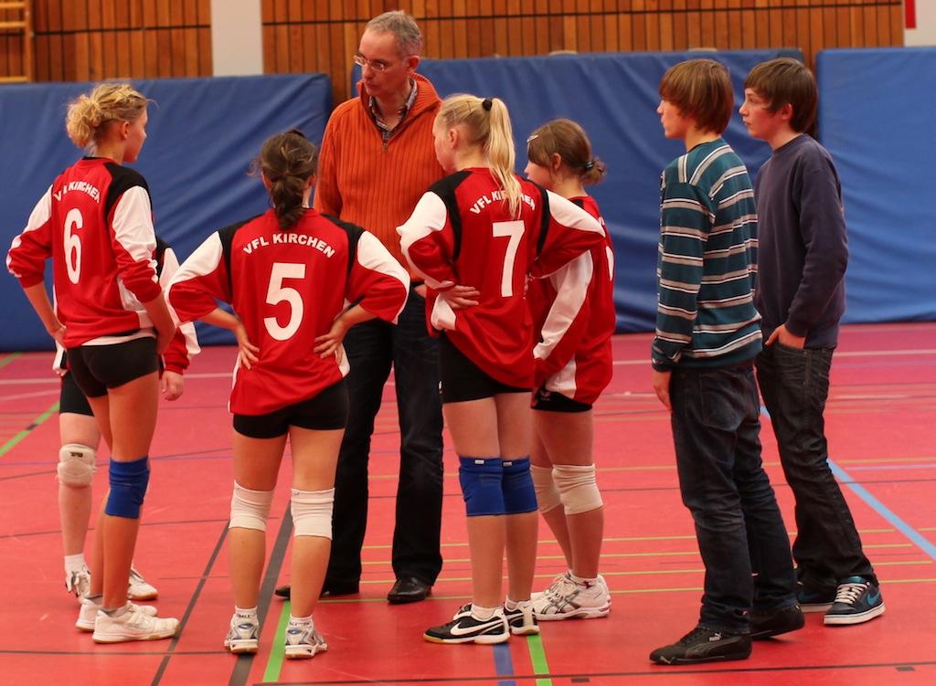 Gespannt hören die Spielerinnen der Analyse von Trainer Markus Brendebach zu